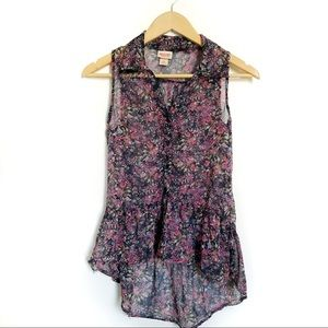 Target • Mossimo floral high-low chiffon tank top